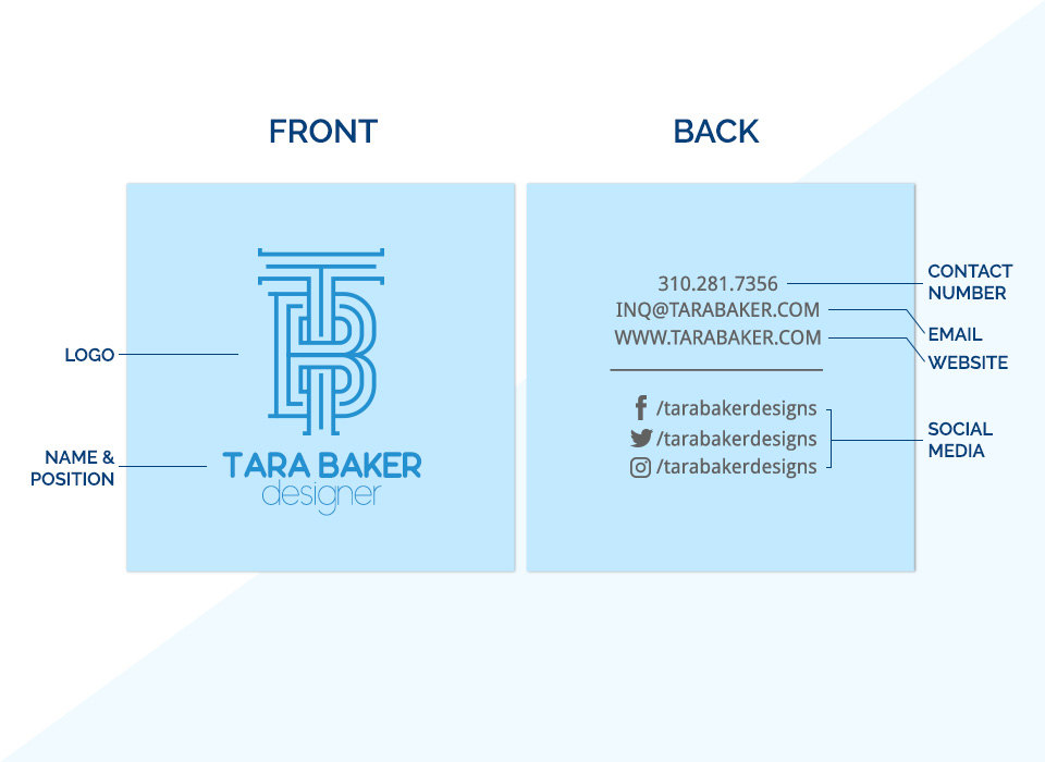 square business cards placements