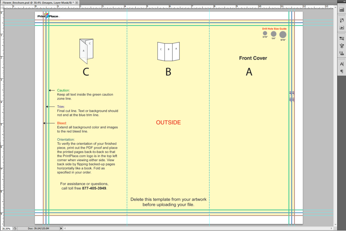 image of layout guide opened in photoshop with guide lines set to match layout guides proof
