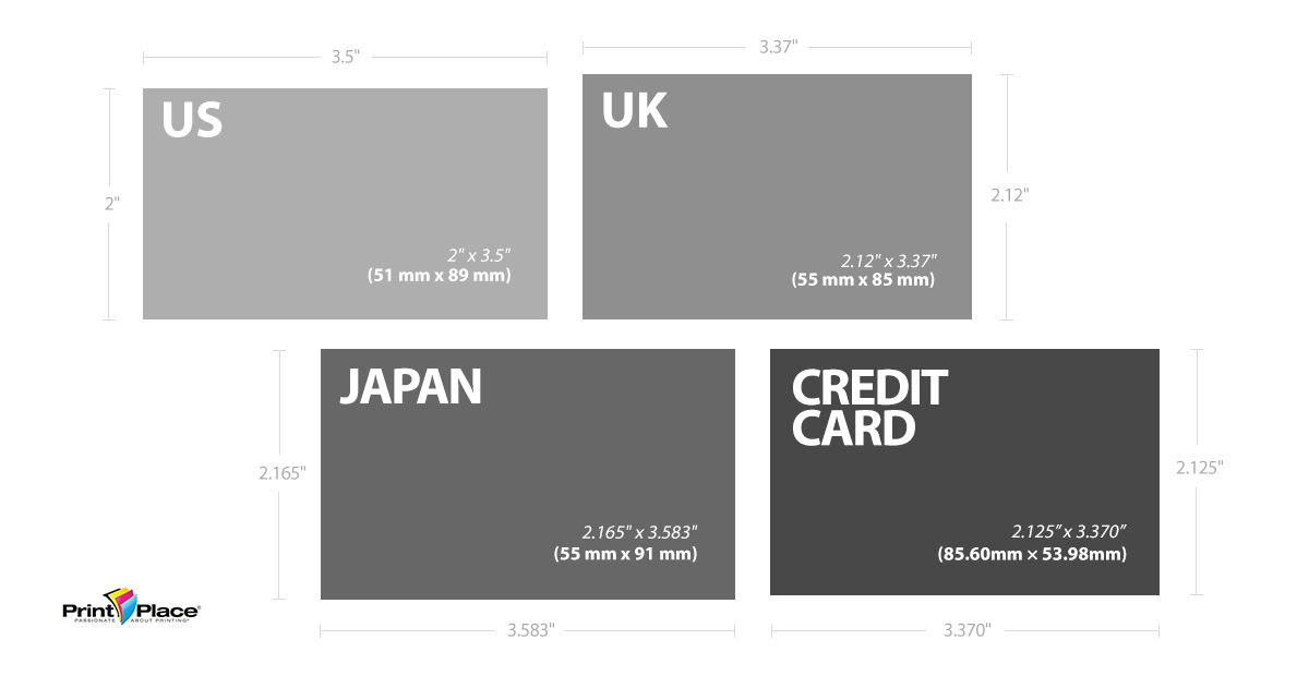 Standard business card sizes around the world printplace japanese and uk standard business cards and credit cards for comparison reheart Images
