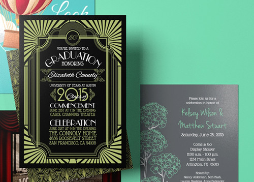 Invitation card printing gloss or matte printplace print custom invitation cards stopboris Choice Image