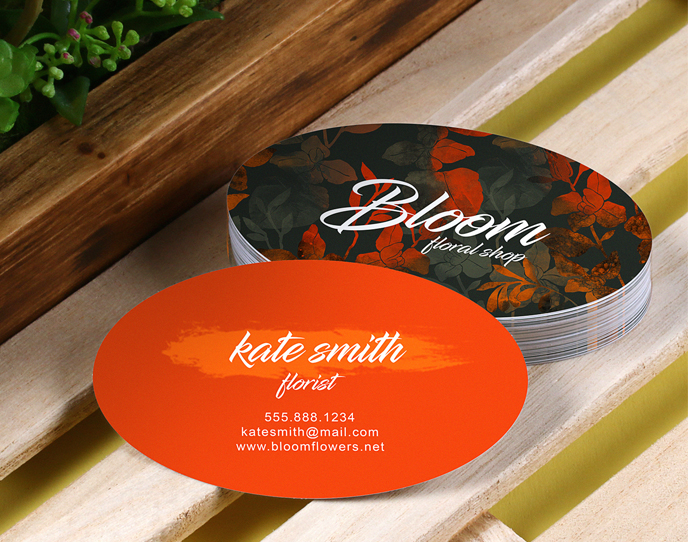 printed oval business cards